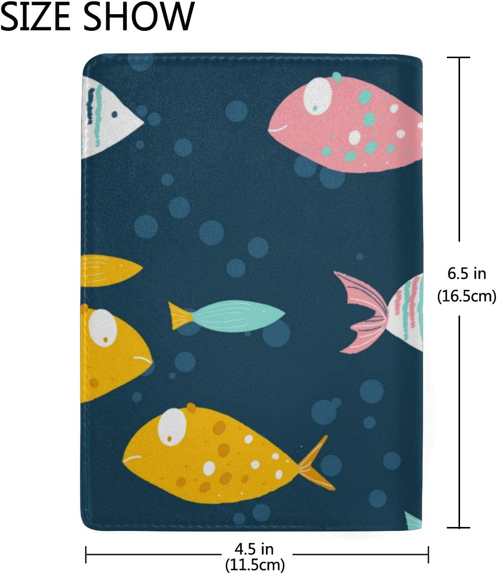 Small Swimming Colorful Fishes Blocking Print Passport Holder Cover Case Travel Luggage Passport Wallet Card Holder Made With Leather For Men Women Kids Family