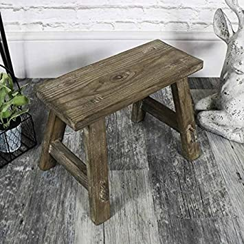 Superb Melody Maison Small Vintage Wooden Milking Stool Amazon Co Pabps2019 Chair Design Images Pabps2019Com
