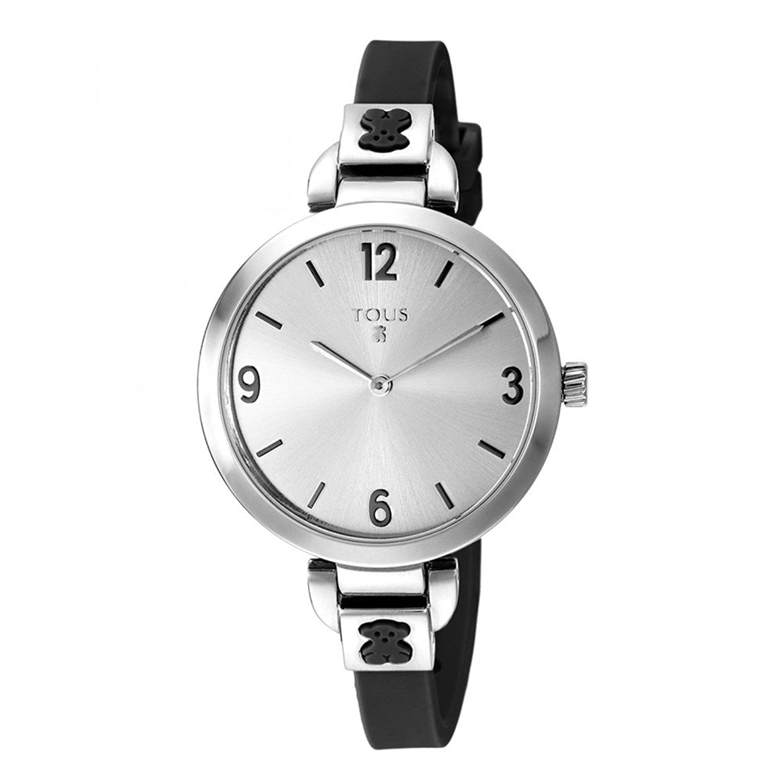 Uhr BohÈme aus Edelstahl mit Silikon-Armband Schwarz