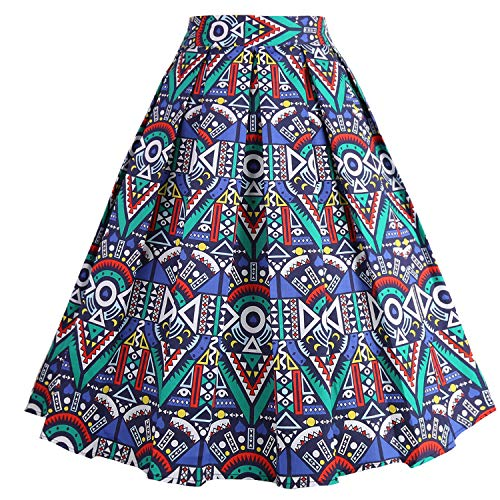 Print Clothing African - Dressever Women's Vintage A-line Printed Pleated Flared Midi Skirt African-Print Small