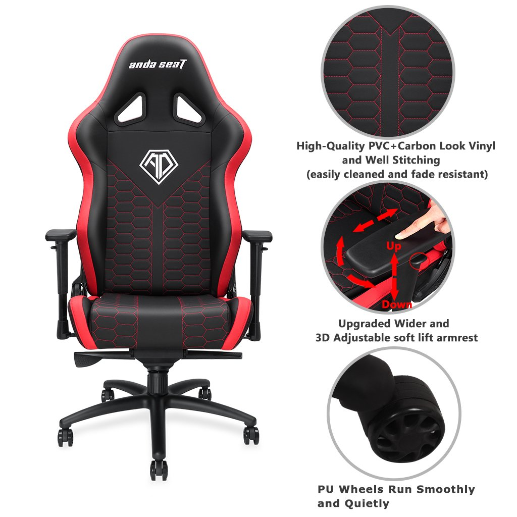 [Large Size Big and Tall 400lb Gaming Racing Chair] Anda Seat Spirit King High Back Computer Office Desk Executive Swivel Chair with Adjustable Headrest and Lumbar Support, Easy Assembly - Black/Red by Anda seat (Image #3)