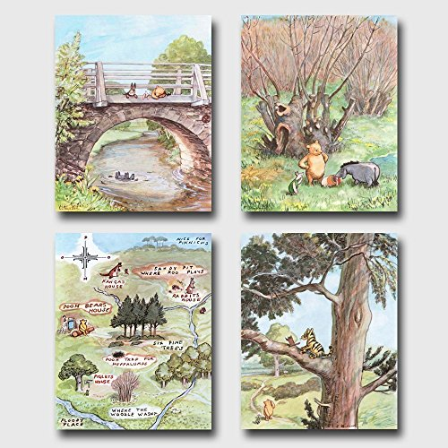 (Set of 4) Winnie the Pooh Art (Classic Nursery Wall Decor, Baby Room Prints)