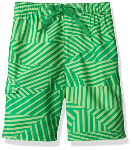 Kanu Surf Little Boys' Static Geo Quick Dry Beach Board Shorts Swim Trunk, Green, Small (4) (Boardshort Toddler Boys)