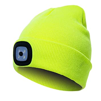 70042fe85b5 4 LED Light Cap Knit Beanie Hat Lighted Headlamp Cap Hands Free Winter Warm  Unisex for