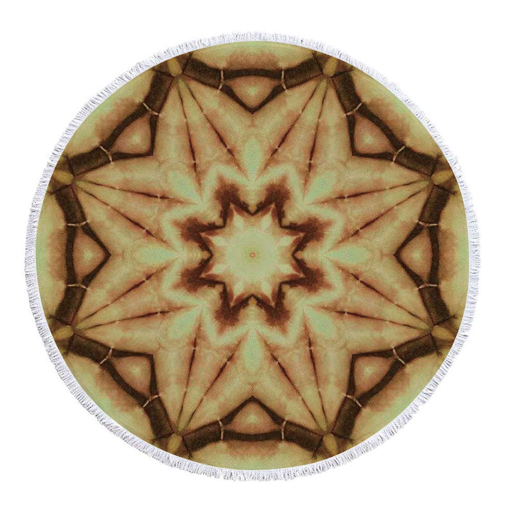 iPrint Thick Round Beach Towel Blanket,Tie Dye Decor,Trippy Ethnic Thai Mandala Motif with Dirty Grunge Smear and Rough Stains,Mustard Brown,Multi-Purpose Beach Throw