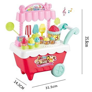 PHYNEDI Carrito de Helados, Luces y Música, Set Completo de heladería 30 Piezas Niñas Pretender Juguete para niños de 3 años Size 31.5 * 4.5 * 35.8cm ...