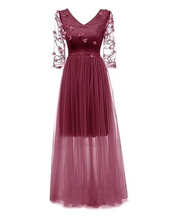 Vestido transparente de noche con flores bordadas en 3D. Opción de colores.