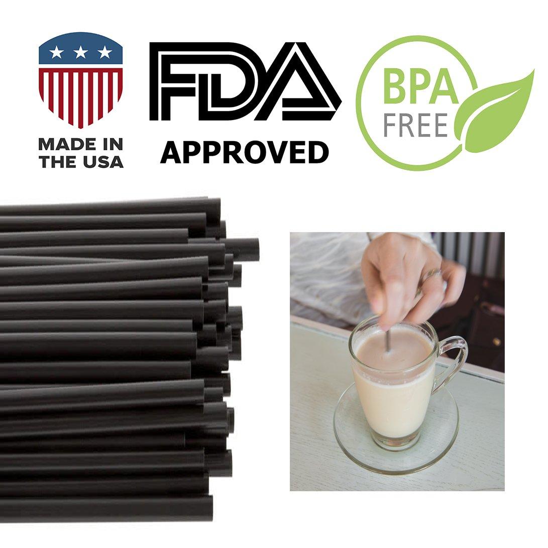 Coffee Stir Sticks, Plastic Stirrers: USA Made, BPA Free: Cocktail Straws, 5.25'' Black, 1000ct by Alexius (Image #3)