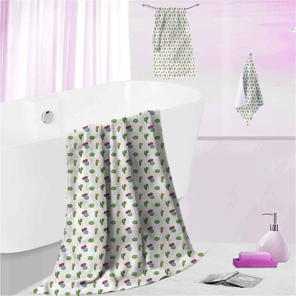 DayDayFun Bath Towel Set Cactus Kids Bath Towel Sets for Boys Horizontal Arrangement L - Contain 1 Bath Towel 1 Hand Towel 1 Washcloth