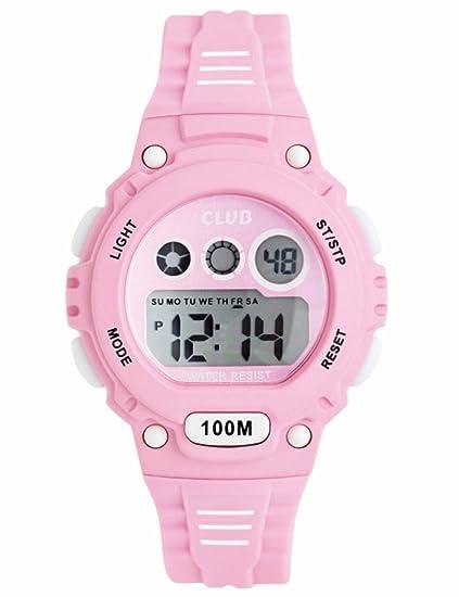 Club Reloj de pulsera niña, niños digital Relojes Deportes resistente al agua reloj de pulsera rosa a47112p14e: Amazon.es: Relojes