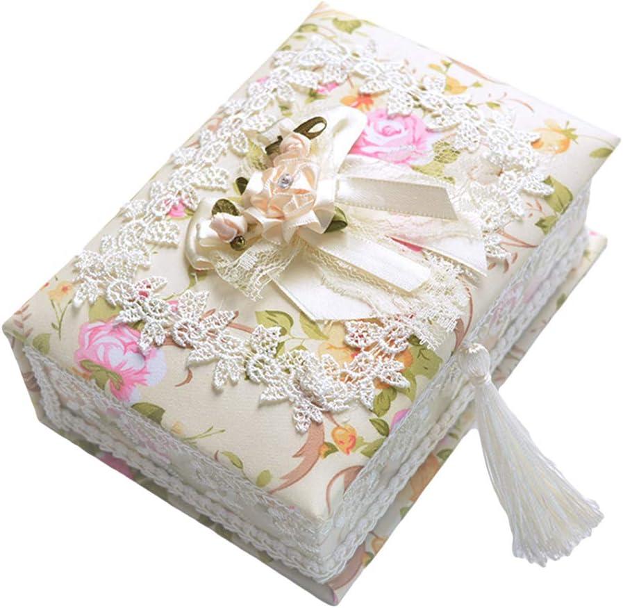 ypypiaol Niños Niña Flor Encaje Joyería Almacenamiento Contenedor Collar Anillo Organizador Caja Útil 4#