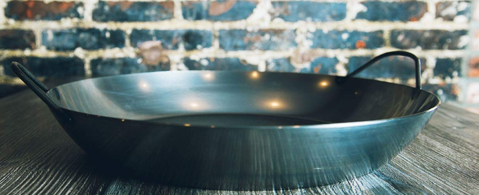 Matfer Bourgeat 062051 Black Steel Paella Pan, 14 1/8'' Diameter