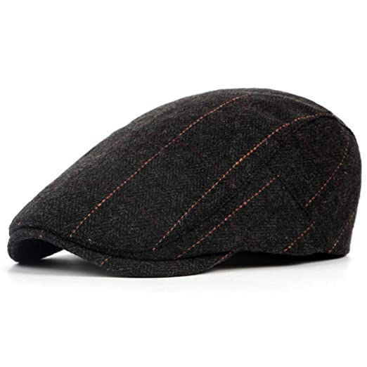 ZLS Faux Wool Newsboy Hat British Style Beret Cap For Men (573black ... 355e423bf18
