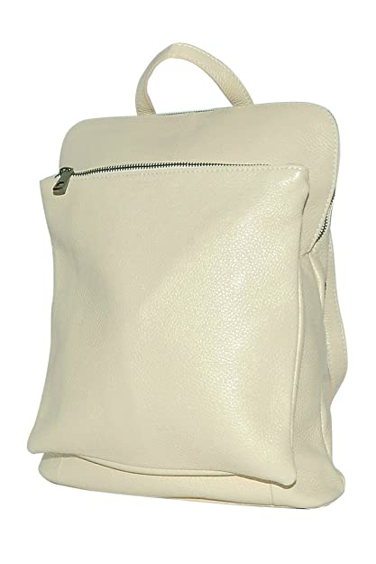 5b9a68ec59a757 BORDERLINE - 100% Made in Italy - Leather Backpack - BEATRICE (Beige ...