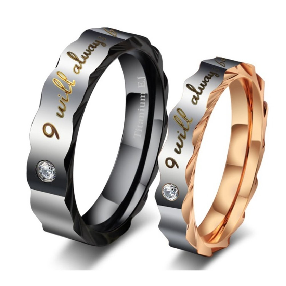GINBL Cubic Zirconia Women Men Titanium Couple Rings for Him and Her Engagement Promise Wedding Bands weddingbands43