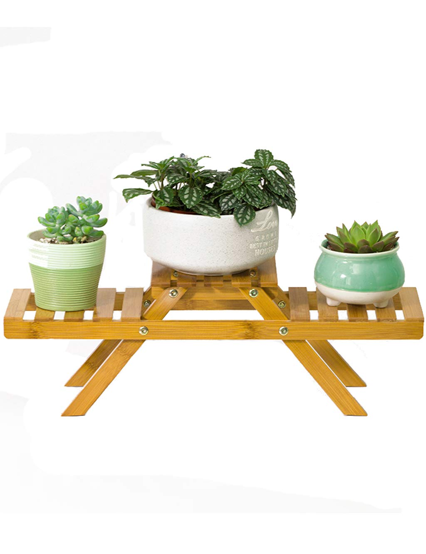 PIPIXIA Bamboo Small Flower Stand Desktop Living Room Pianta in vaso verde pianta tavolo Cabinet Frame telaio 52CM  15CM  16CM