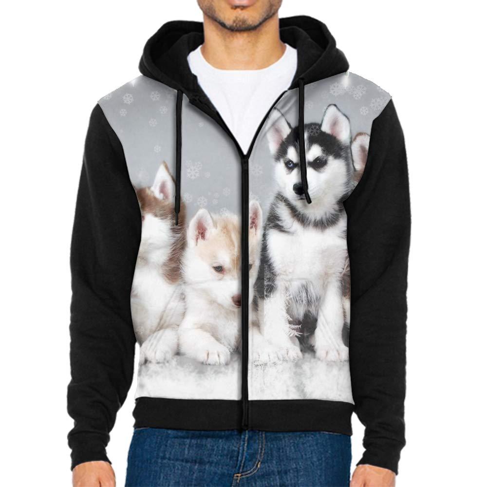 Men Long Sleeve Christmas Dogs Print Drawstring Kangaroo Pocket Pullover Hooded Sweatshirt