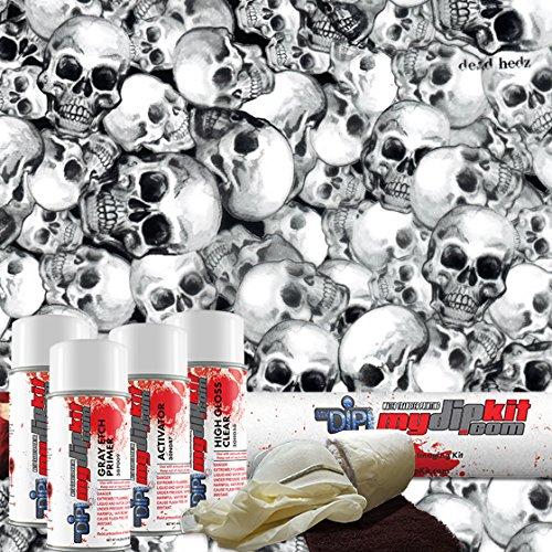 Black Dead Hedz Skulls - Hydrographics Film Kit - MyDipKit - LL-801 - Water Transfer Printing ()