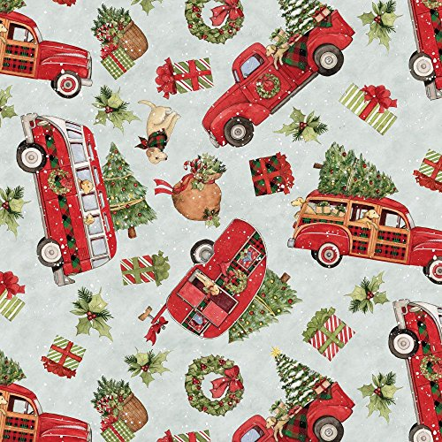 Christmas Red Truck Toss Cotton Fabric by the Yard]()