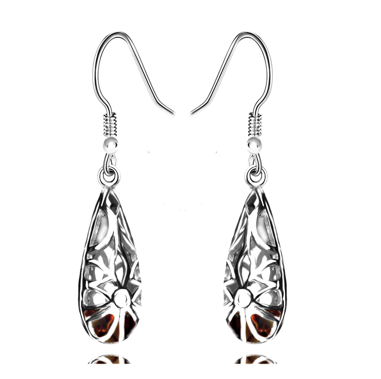 925 Sterling Silver Hoops Filigree Dangle Earrings for Women (Brown)