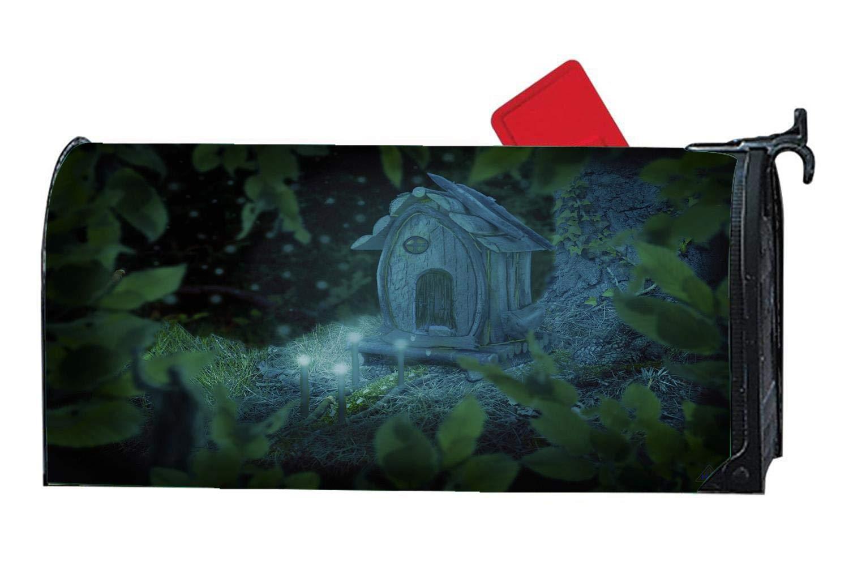 Fantasy Dwarf House Light Magnetic Mailbox Cover Decorative Outdoor Vinyl Custom Mailbox Wrap Standard Size 6.5 x 19 inch