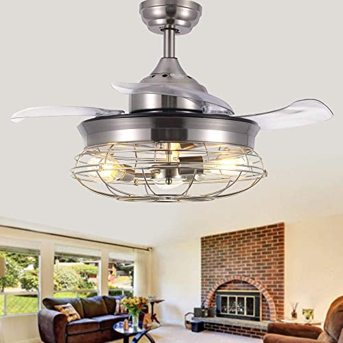 Modern Brushed Nickel Retractable Ceiling Fan with Remote and Light Bulbs NOT included , 42 Industrial Ceiling Fan by BellaDepot