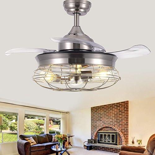 Modern Brushed Nickel Retractable Ceiling Fan