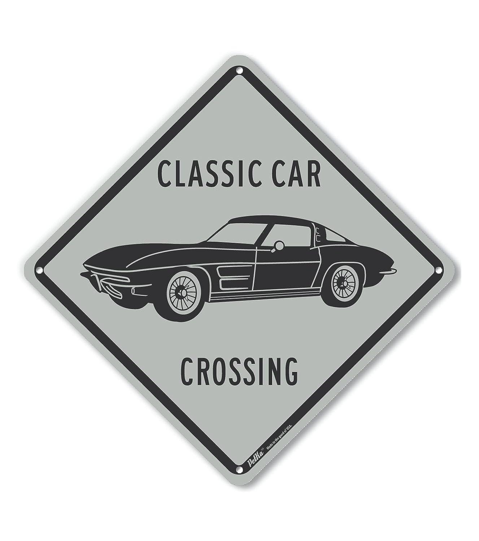 PetKa Signs and Graphics PKAC-1248-NA/_10x10Classic Car Crossing Stingray Aluminum Sign Gray 10 x 10