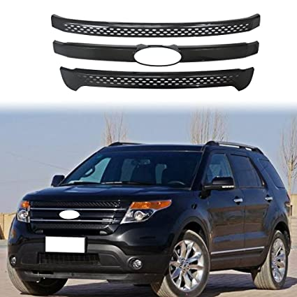Black Ford Explorer >> Ninte Grill Cover For 2011 2015 Ford Explorer Base Limited Xlt Chrome Gloss Black Grille Trims Not Fit Explorer Sport