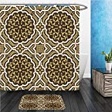 Beshowereb Bath Suit: ShowerCurtian & Doormat arabic floral seamless pattern traditional arabic islamic background mosque decoration element 445449676