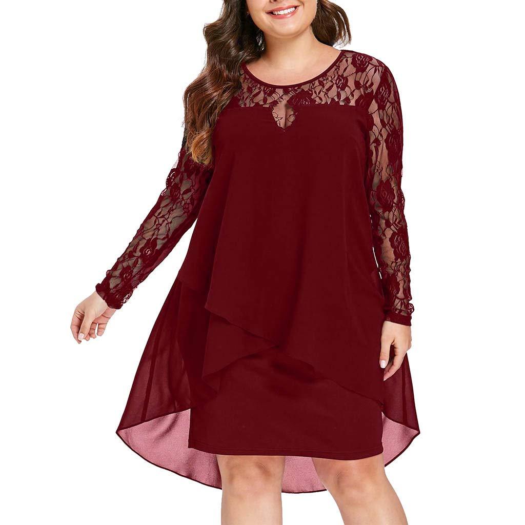 Garish Women's Casual Plus Size Dress Sheer Lace Sleeve,High Low Hem O-Neck Swing Dress Wine