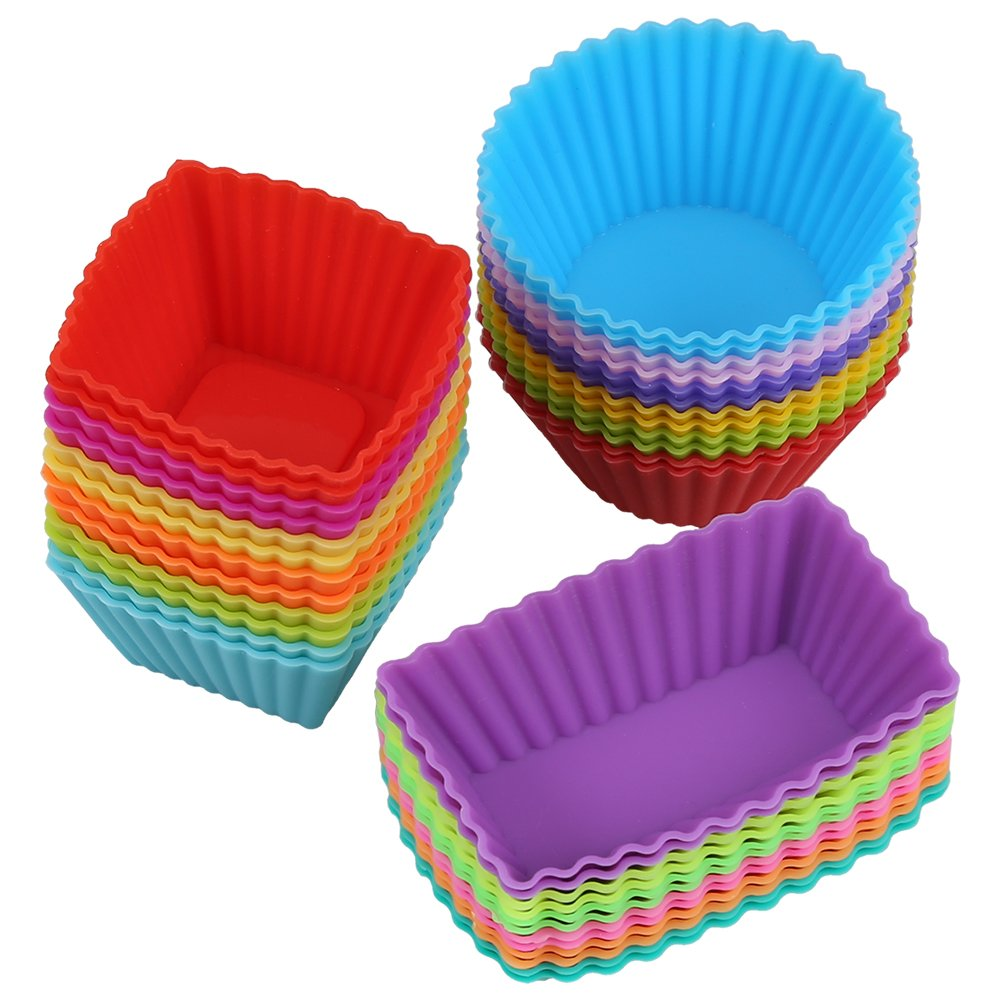 Magic Zone Silicone Reusable Cupcake Cases Baking Muffin Cups Liners Molds Sets,36pack