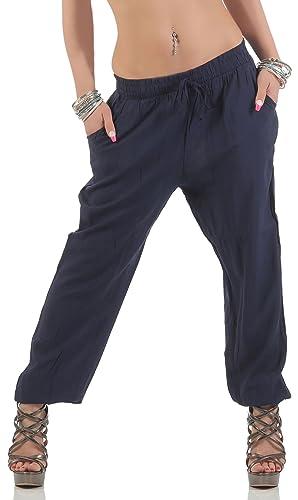 malito Pantalones de Ocio Basic Pantalones de Harem 6601-1 Mujer Talla Única
