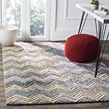 Safavieh Nantucket Collection NAN601A Handmade Beige and Blue Cotton Square Area Rug,