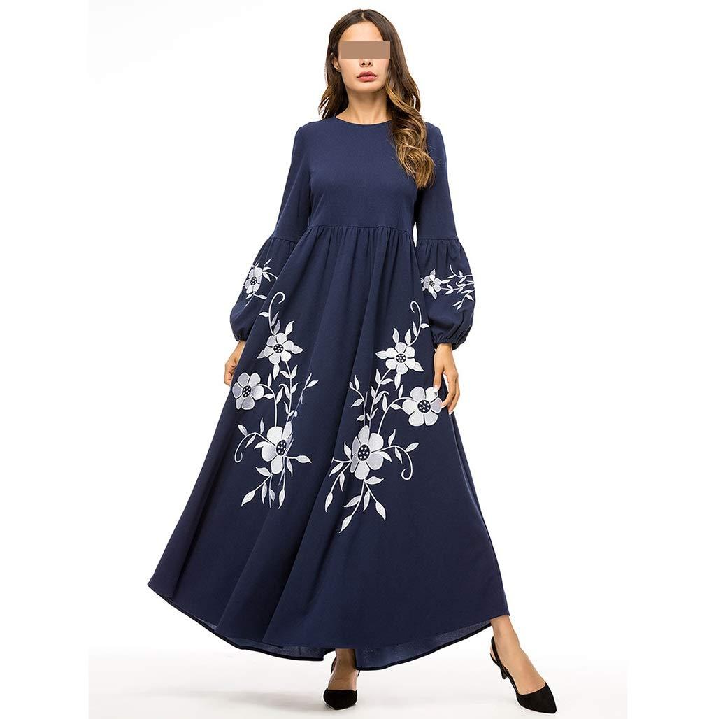 ドレス、女性のカクテルフォーマルスイング ヨーロッパとアメリカのラウンドネックステッチ刺繍大スイング緩い長袖のドレス スリーブスリムビジネスペンシル (Color : Blue, Size : XXXXL) XXXXL Blue B07SKRNM78