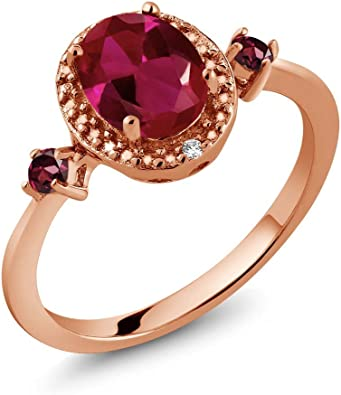Available 5,6,7,8,9 Gem Stone King 1.15 Ct Round Red Rhodolite Garnet 18K Yellow Gold Plated Silver Ring