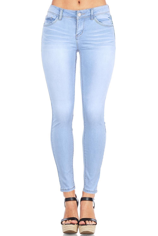 Wax Women's Juniors Timeless Low Rise Stretchy Skinny Jeans (5, Light Denim)