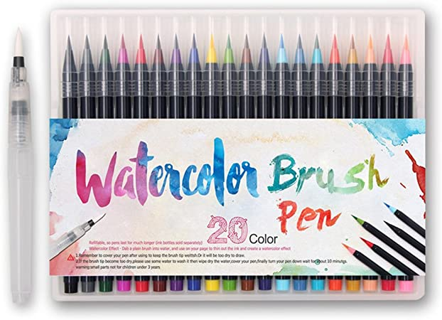 Adult Coloring or Manga Drawing Soft and Flexible Tips Perfect for Calligraphy Watercolour Brush Pens with Water-Based and Non-Toxic Ink 24 Waterbrush Pens and 1 Aqua Brush by Zenacolor