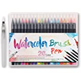 WCOCOW 20 couleurs Watercolor Brush Marker Pens Soft Flexible Tip for parfait pour cahiers de coloriage adulte, mangas, comics, calligraphie +1 water brush