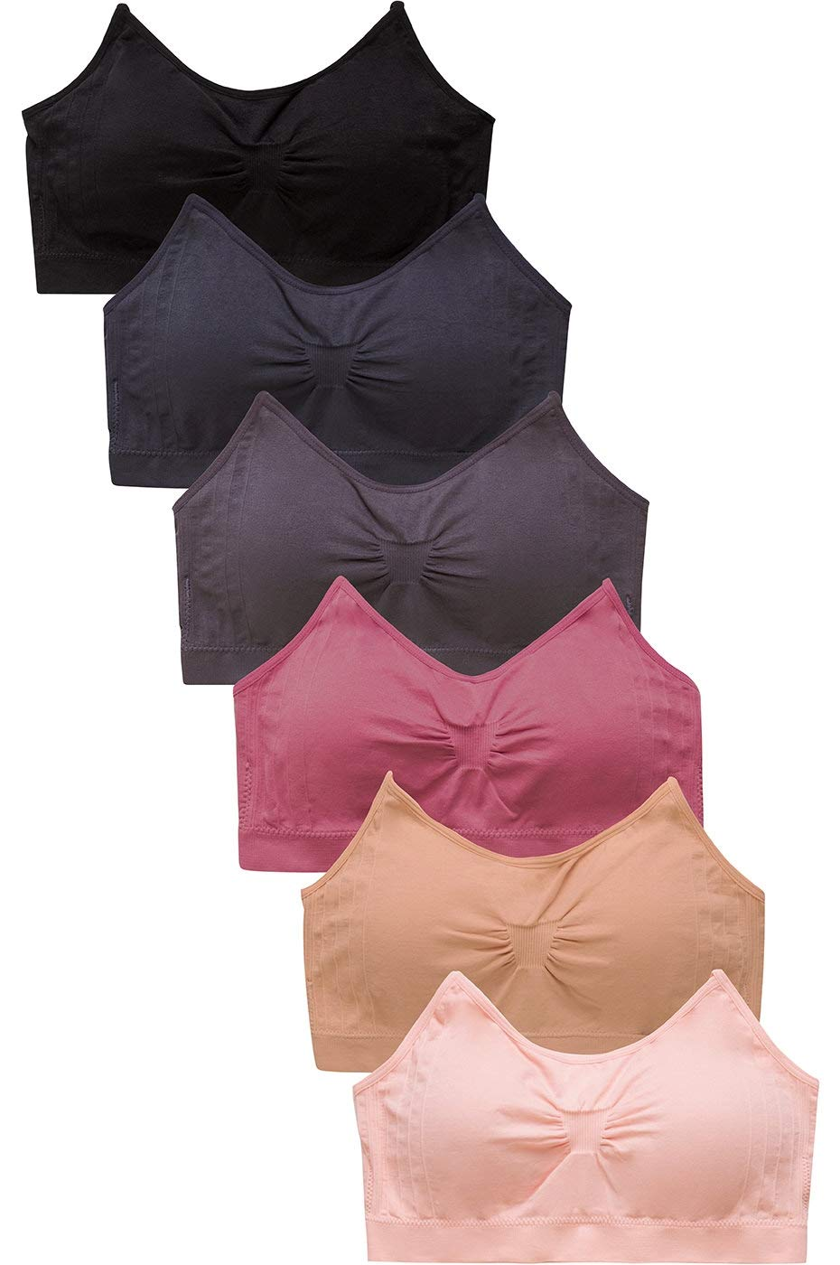 Sofra Women's 6 Pack of Seamless Padded Sports Bras-Space