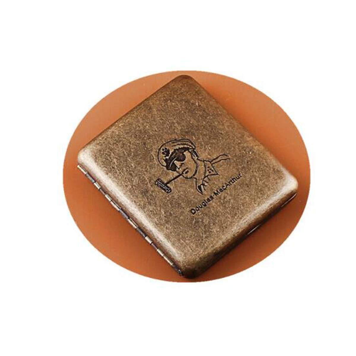 KALMAR Cigarette Holder, 20 Packs of Portable Men's Stainless Steel Cigarette Holders, Cigarette Packs Cigarette Box Cigar Protective Cover (Color : Bronze)