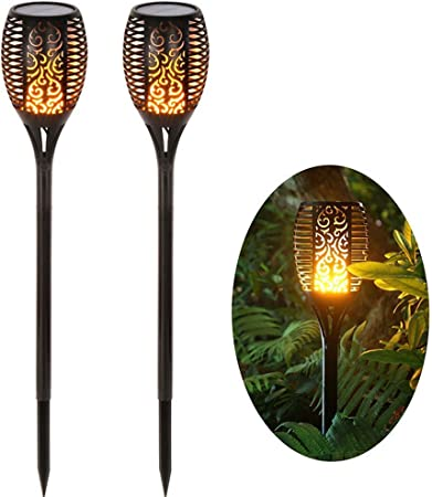 P12cheng Lámpara Solar para jardín,Luz Solar de Antorcha -1/2 Unids 33LED Lámpara de Césped Antorcha de Llama Recargable con Energía Solar para Patio Césped Jardin 2pcs: Amazon.es: Hogar