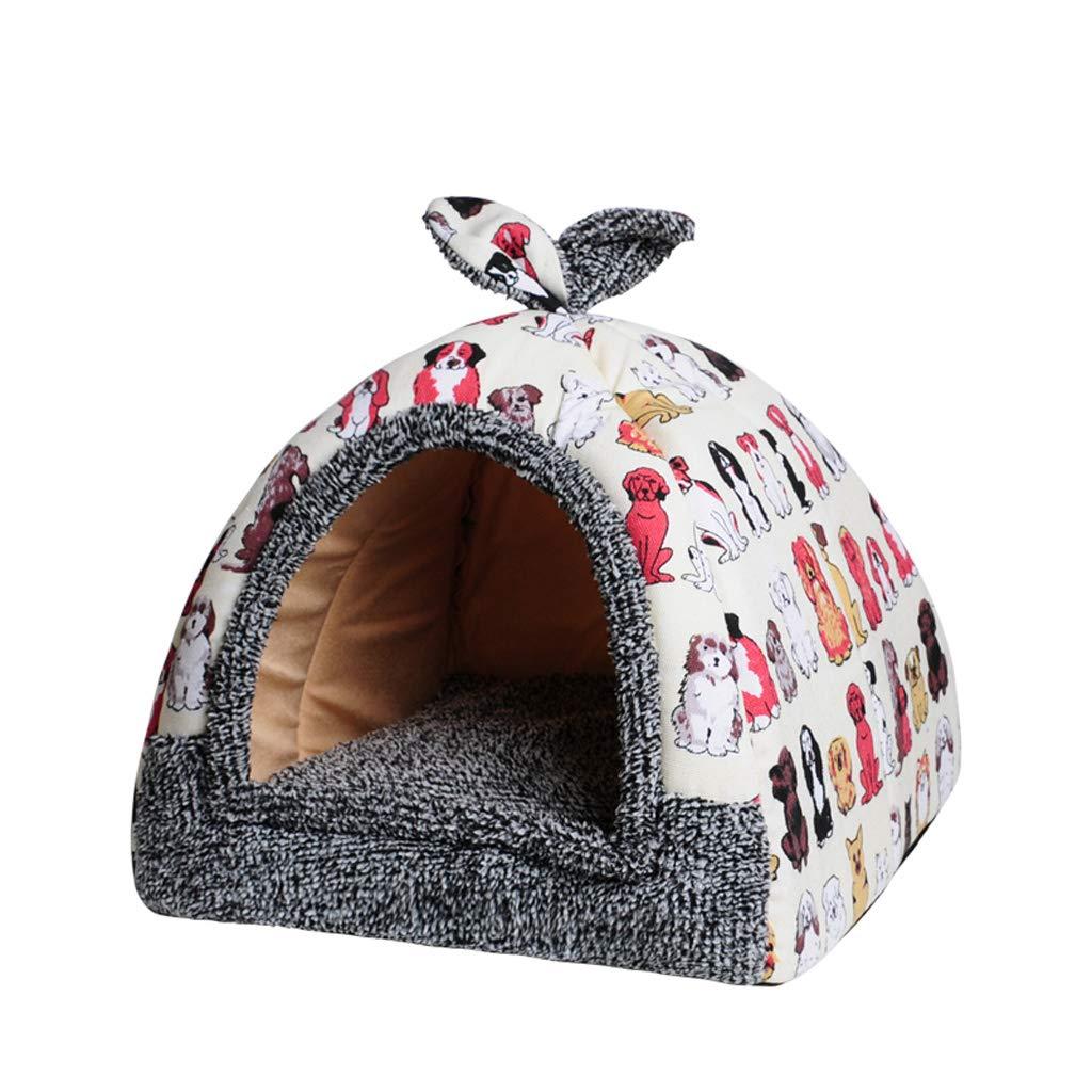 Un M A M Camera da letto per gatti, 2 -in 1 Pet Bed House Auto -Warming Dog Cat Kitten Triangol Puppy Cave con Cushion rimovibile (Colore: A, Dimensione: M)