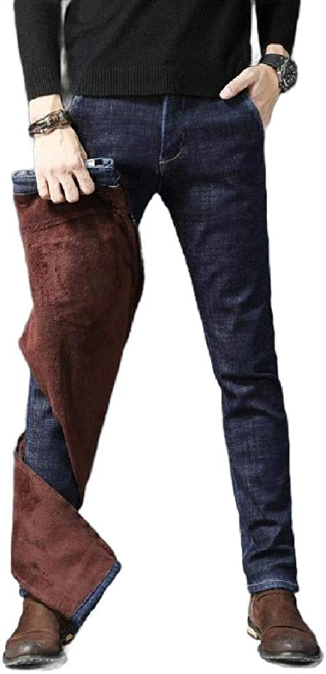 AngelSpace Men's Thicken Stretch Fall Winter Thermal Relaxed Denim Skinny Jeans