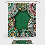 iPrint Moroccan Shower Curtain And Floor Mat Combination Set Oriental Motif with Mix of Hippie Retro Circle Morocco Mosaic Lines Sacred Holy Design For decoration and daily use Multi