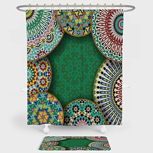 iPrint Moroccan Shower Curtain And Floor Mat Combination Set Oriental Motif with Mix of Hippie Retro Circle Morocco Mosaic Lines Sacred Holy Design For decoration and daily use Multi by iPrint