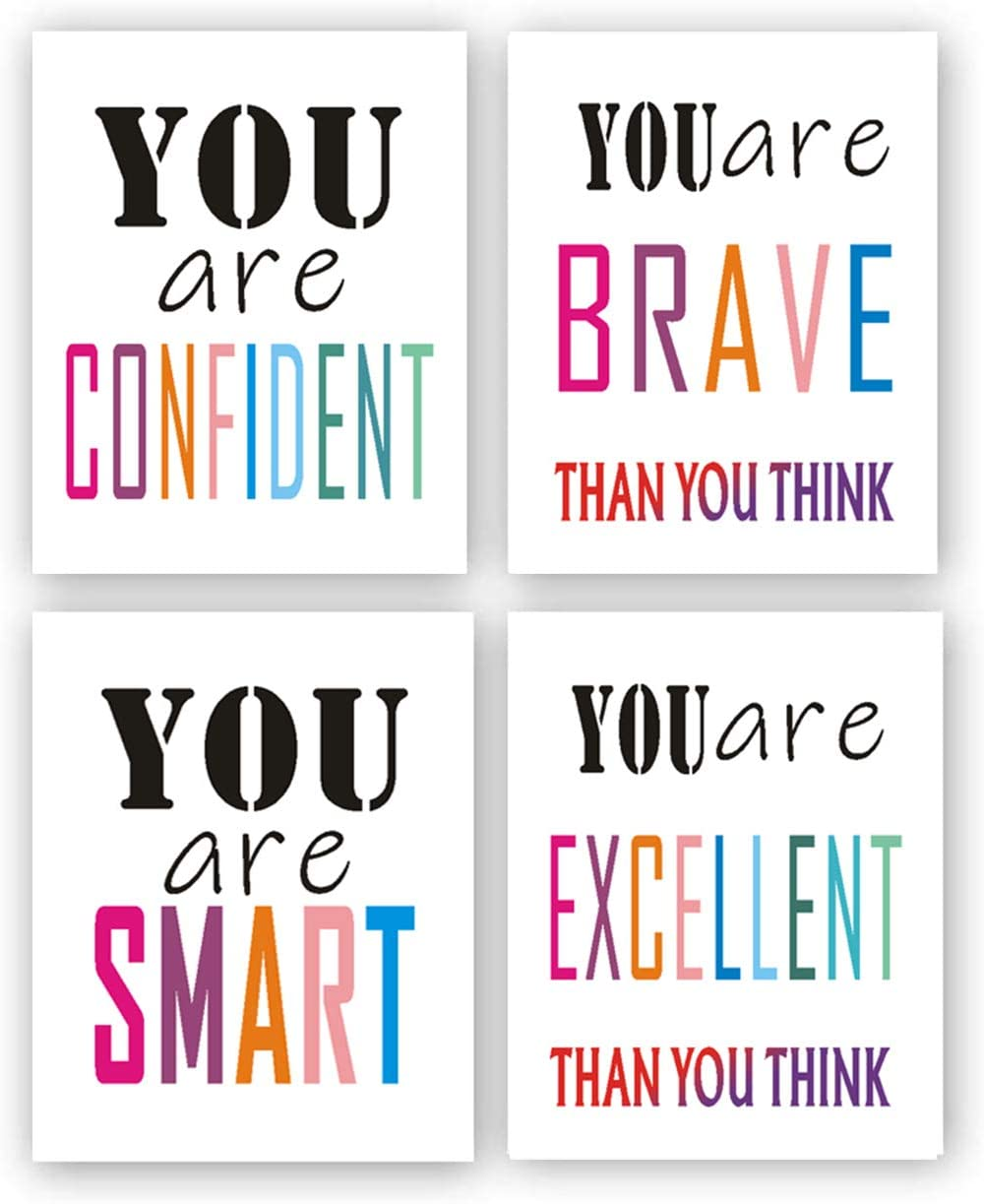"""4 Set - Inspirational Wall Art for Kids,Inspirational Art Print Decor,Children's Inspirational Art Printing,Watercolor Art Print Canvas Painting,for Kids Room Decor or School Decor - No Frame,8""""x10"""""""