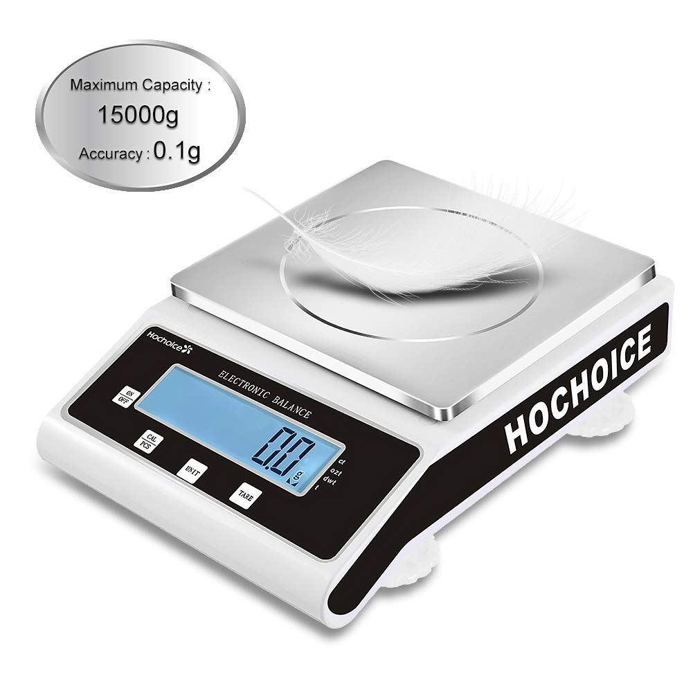 Hochoice Accuracy:0.1g Laboratory Digital Analytical Balance High-Precision Electronic Scales Industrial Scale Jewelry Scales Strain Sensor Square pan (MAX Capacity:15000g, Accuracy:0.1g)