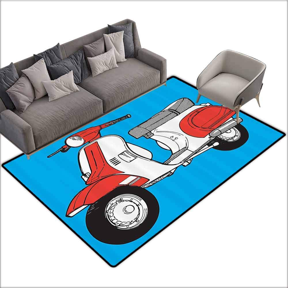 Anti-Skid Area Rug Funky Decor,Cute Scooter Motorcycle Retro Vintage Vespa Soho Wheels Rome Graphic Print,Blue Red White 60''x 96'',Floor mats by dsdsgog