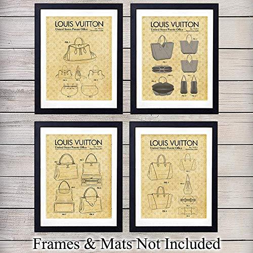 Vintage Louis Vuitton - Louis Vuitton Handbag Patent Wall Art Prints - Set of Four - Makes a Great Gift for Fashion Lovers - Retro Chic Home Decor - Ready to Frame (8x10) Vintage Photos